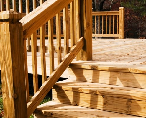wood stairs for a deck