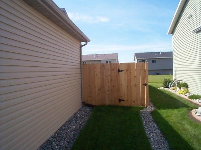 wood fence side gate