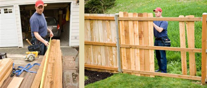 fence installer installing a fence