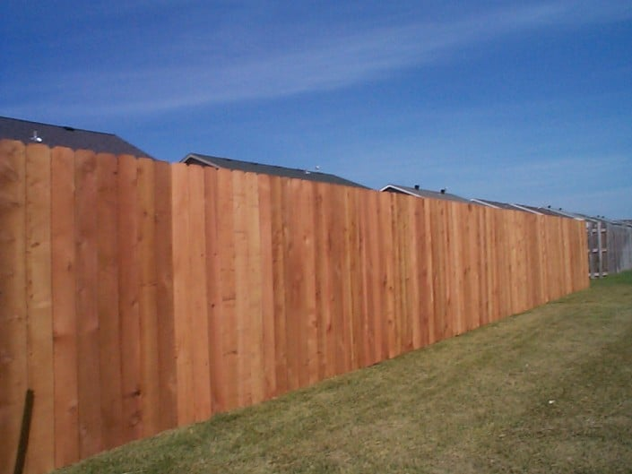 angled view of a cedar fence