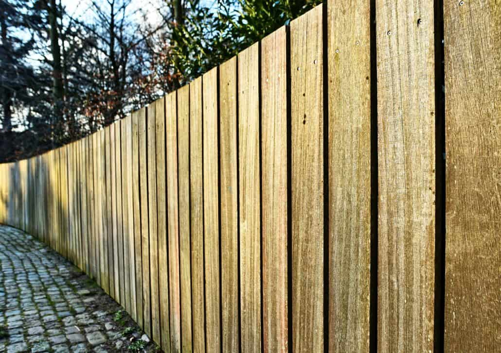 Damaged wood fence